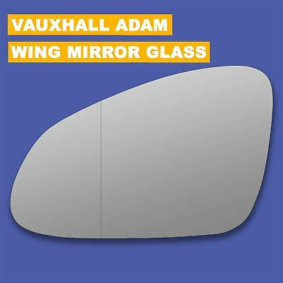 Right Side Wide Angle Wing Door Mirror Glass for Vauxhall Adam 2012-2017