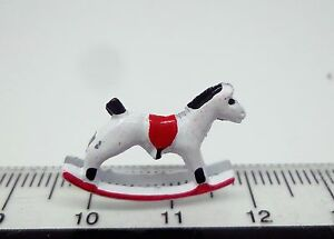 Red-amp-White-Rocking-Horse-Dolls-House-Miniature-Nursery-Furniture-Toys