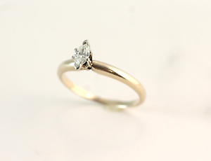 Vintage 1 2 Carat Marquise Diamond Solitaire Engagement Ring 14k Yellow gold
