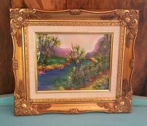 Vintage-Framed-Enamel-Copper-Art