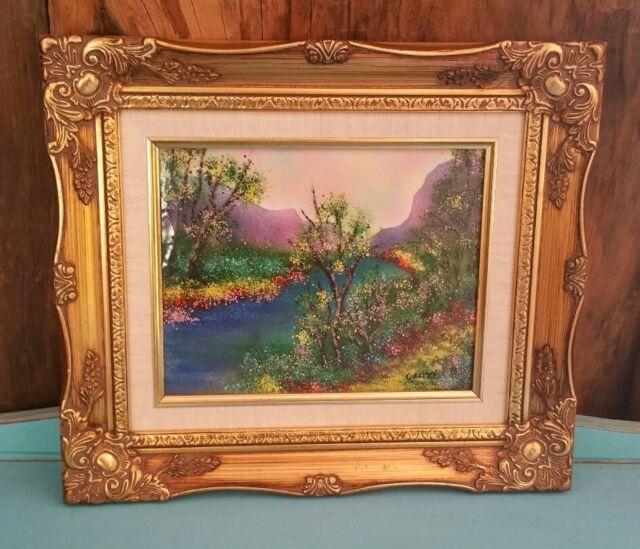Vintage Framed Enamel Copper Art