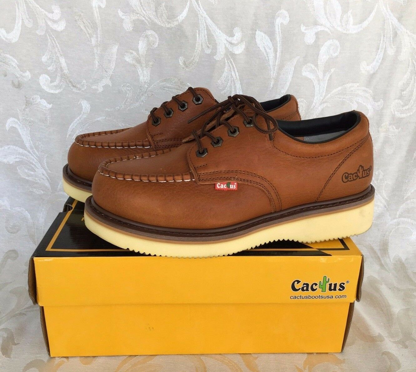 Cactus Men's 422M LT. BROWN Leather Work Boots or Casual 4  Low Cut shoes Size