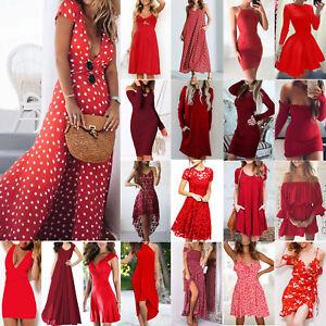 Damen-Rot-Sommer-Maxikleider-Party-Cocktailkleid-Hochzeit-Minikleid-Strandkleid