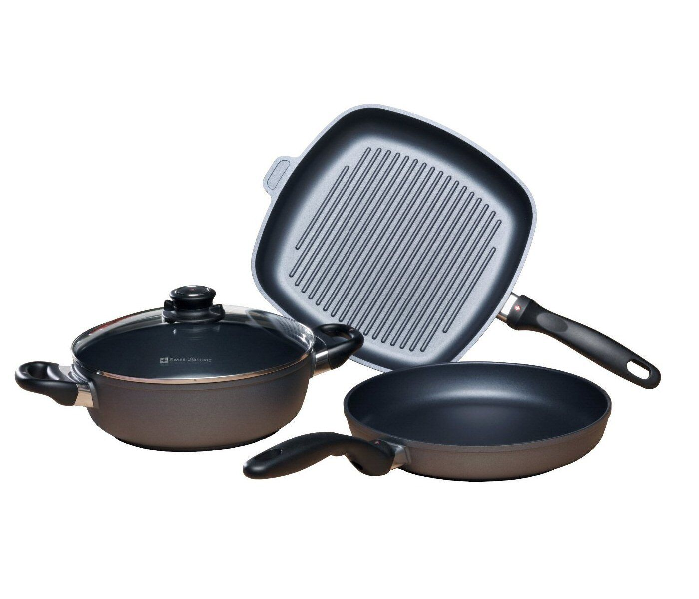 Swiss Diamond 4pc sartén, Cazuela & Grill Pan Cookware Set