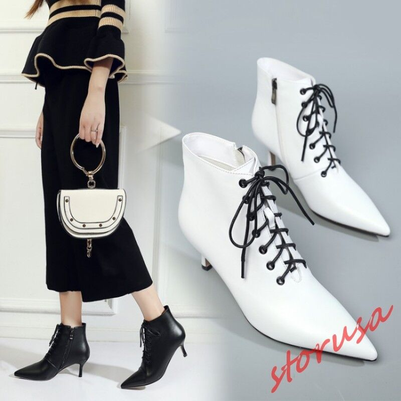 Womens Pointy Toe Med Kitten Heels Lace Up Leather shoes British Ankle Boots sz