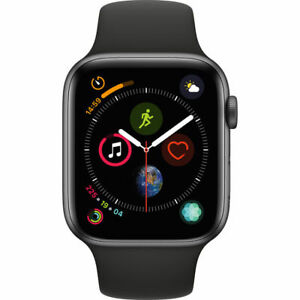 7eb4a7efdfd Details about NEW APPLE WATCH SERIES 4 44MM GPS SPACE GRAY ALUMINUM CASE  BLACK SPORTS BAND