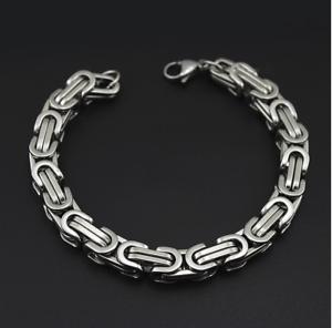Silber-Kette-Armband-dick-8MM-breit-Edelstahl-Panzerkette-Rapper-HipHop-Herren