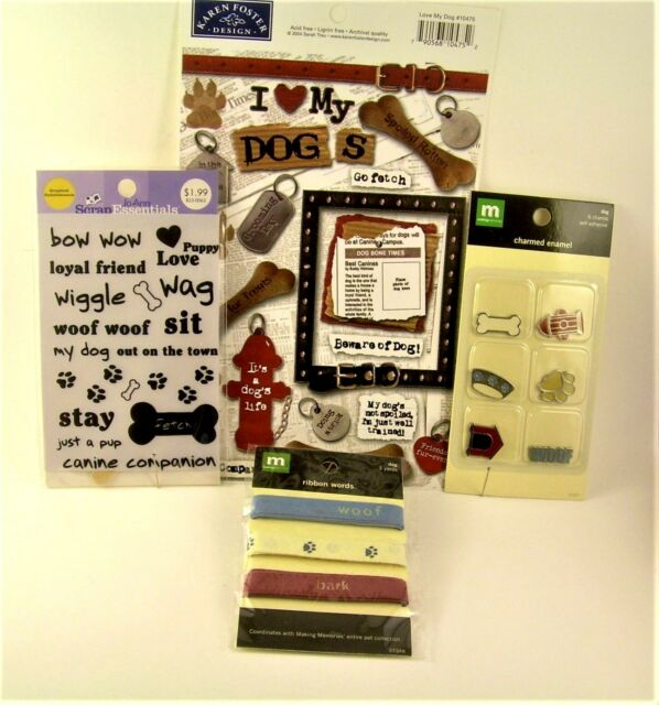 Dog-Themed Lot: Scrapbooking Cardmaking, Stickers, Charms, Ribbon, Decals