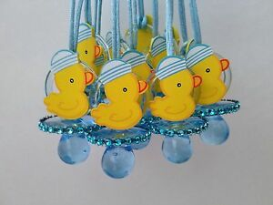 12 Duck Pacifier Necklaces Baby Shower Game Blue Favors Prizes Boy
