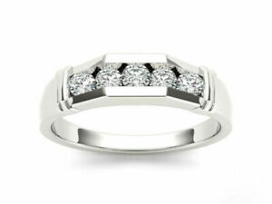 Diamond-Wedding-Band-14K-White-Gold-Fn-Round-5-Stone-Mens-Engagement-Ring-1-5-Ct