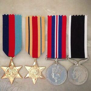 WWII AFRICA STAR + NZ WAR SERVICE MEDAL SET | WORLD WAR TWO | GOLD TONE