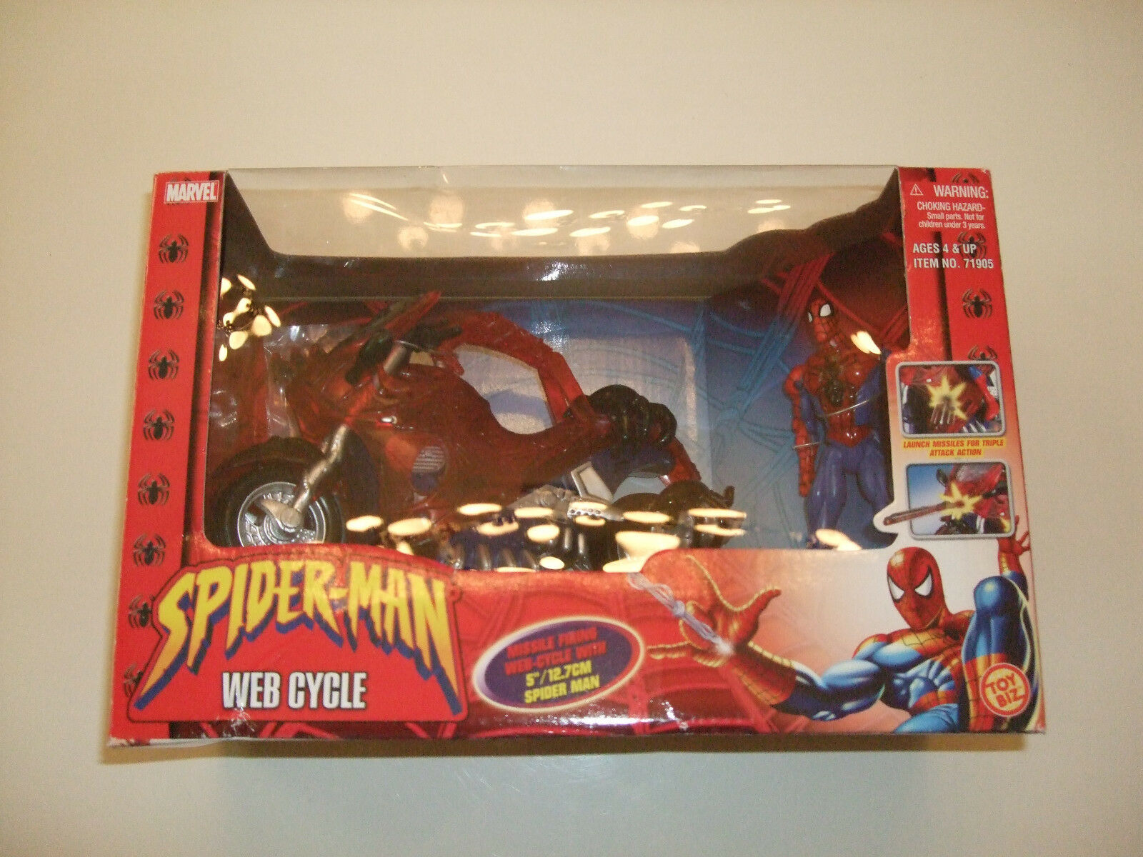 SPIDER-MAN WEB-CYCLE w 5 FIGURE SPIDEY MISSILE FIRING(MARVEL NOW SUPERIOR 123567
