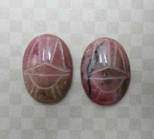 25X18mm Scarab Cabochons Rhodonite Natural Stone Beetle Cameos Egyptian Symbols