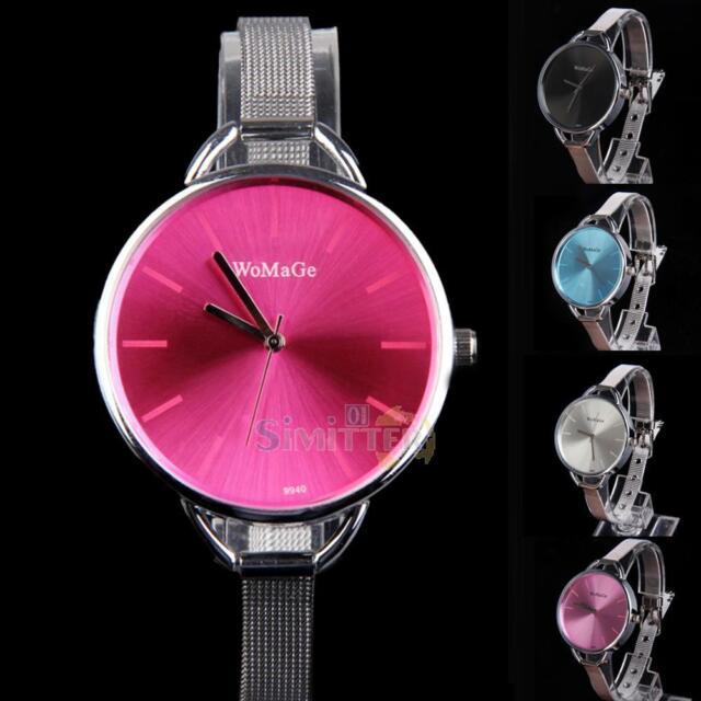 Fashion Women Lady Quartz Stainless Steel Analog Round Wrist Watch Bracelet Gift