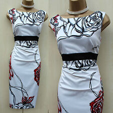 Exquisite Karen Millen Satin White Red Black Floral Wiggle Cocktail Dress 14 UK