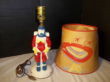 VINTAGE 1950s SPACE ASTRONAUT Figural Ceramic Lamp w/ Space Shade RARE