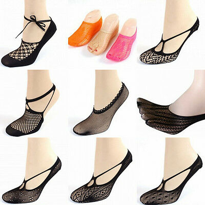 New Sexy Women Cross Lace No Show Peds Antiskid Invisible Liner Low Cut Socks