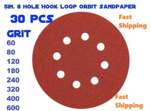 "5/"" 8 Hole 60//80//120//180//240//320 Grit Orbit SandPaper Disc Random hook /& loop US"