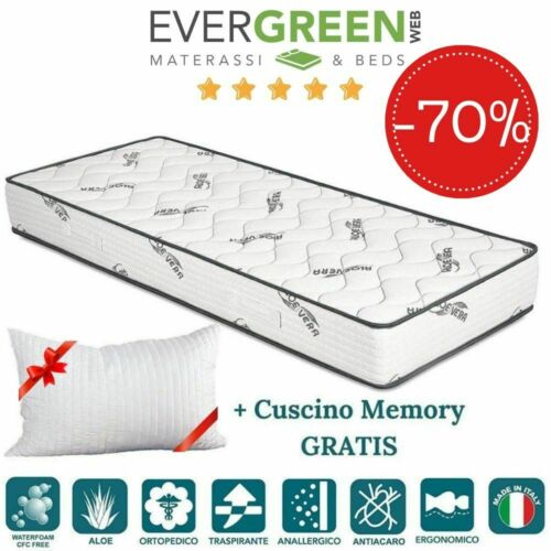 EVERGREENWEB ✅ Materasso Singolo 90x200 Antiacaro Cuscino GRATIS