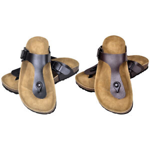 damen und herren tieffu bett flip flop bio pantoletten leder sandalen korksohle ebay. Black Bedroom Furniture Sets. Home Design Ideas