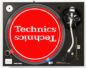 TECHNICS MIRROR WHITE ON RED - DJ SLIPMATS (1 PAIR) 1200's or any turntable