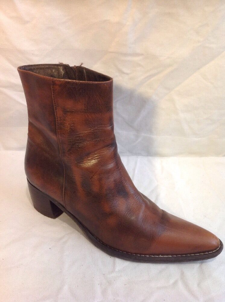 Mèndez Brown Ankle Leather Boots Size 38
