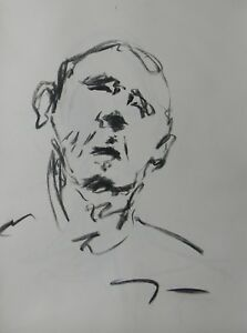 JOSE TRUJILLO - Contemporary ORIGINAL CHARCOAL DRAWING SIGNED Portrait ABSTRACT