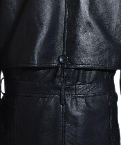 Men/'s DB Trench Nero Classico Vintage a pelle di agnello Pelle Cappotto Trench