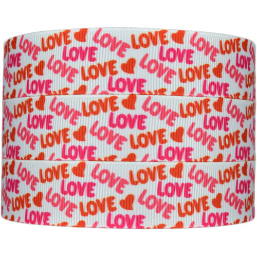 """Hair Bow Party Cake Dummy Clips 7//8/"""" Printed Hearts Grosgrain Ribbon 22mm"""