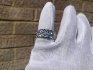 Iced-Out-Silver-Plated-2-Row-Lab-Diamond-Pinky-Ring-Size-7