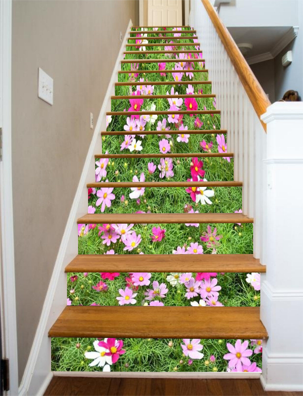 3D Flowers Meadow 2 Stair Risers Decoration Photo Mural Vinyl Decal Wallpaper UK