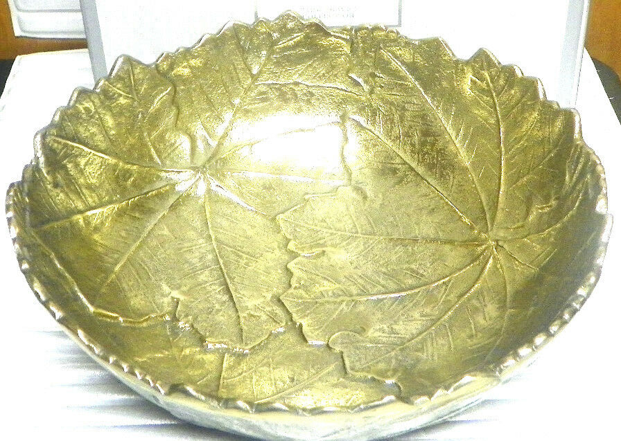 New Macy's Martha Stewart Collection 12 Inch Serving Bowl Park Leaves gold NIB