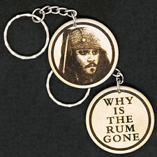 ☠ Jack Sparrow Johnny Depp Pirates Of The Caribbean Engraved Wood Keyring