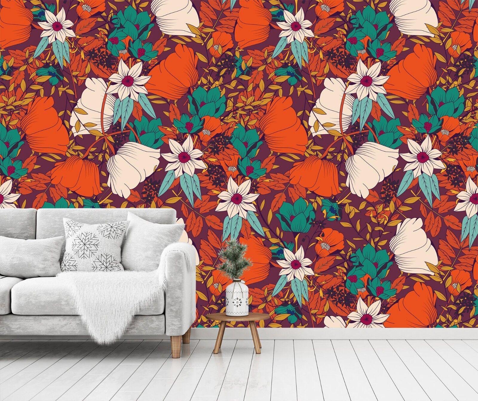 3D ROT Grün Flower  734 Wall Paper Print Wall Decal Deco Indoor Wall Murals US