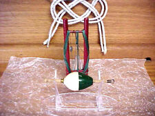 VINTAGE WOOD WOODEN FISHING BOBBER FLOAT WITH HAND LINE HOLDER HOOK LEAD WEIGHT
