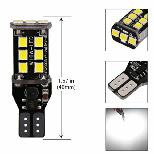 10PC Bright White Canbus Error 15SMD CREE 2835 T15 W16W LED Reverse Backup Light