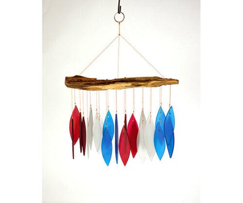 /& Blue Driftwood    GEBLUEG566 White Red Driftwood /& Glass Hand Cut  Chimes