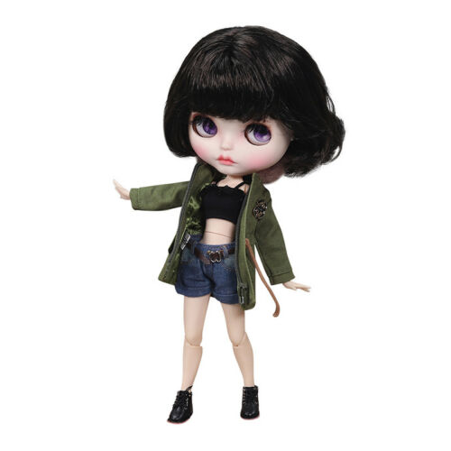 Blythe Nude Doll from Factory Dark Brown Hair With Make-up Eyebrow Sleeping Eyes