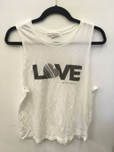 new Spiritual Gangster Women/'s Love muscle Tank Top off white heart