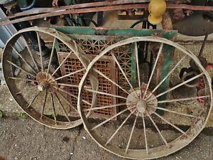 PAIR-Antique-31-034-Iron-Spoke-Wagon-Wheels-Farm-Tractor-Implement-Farm-garden