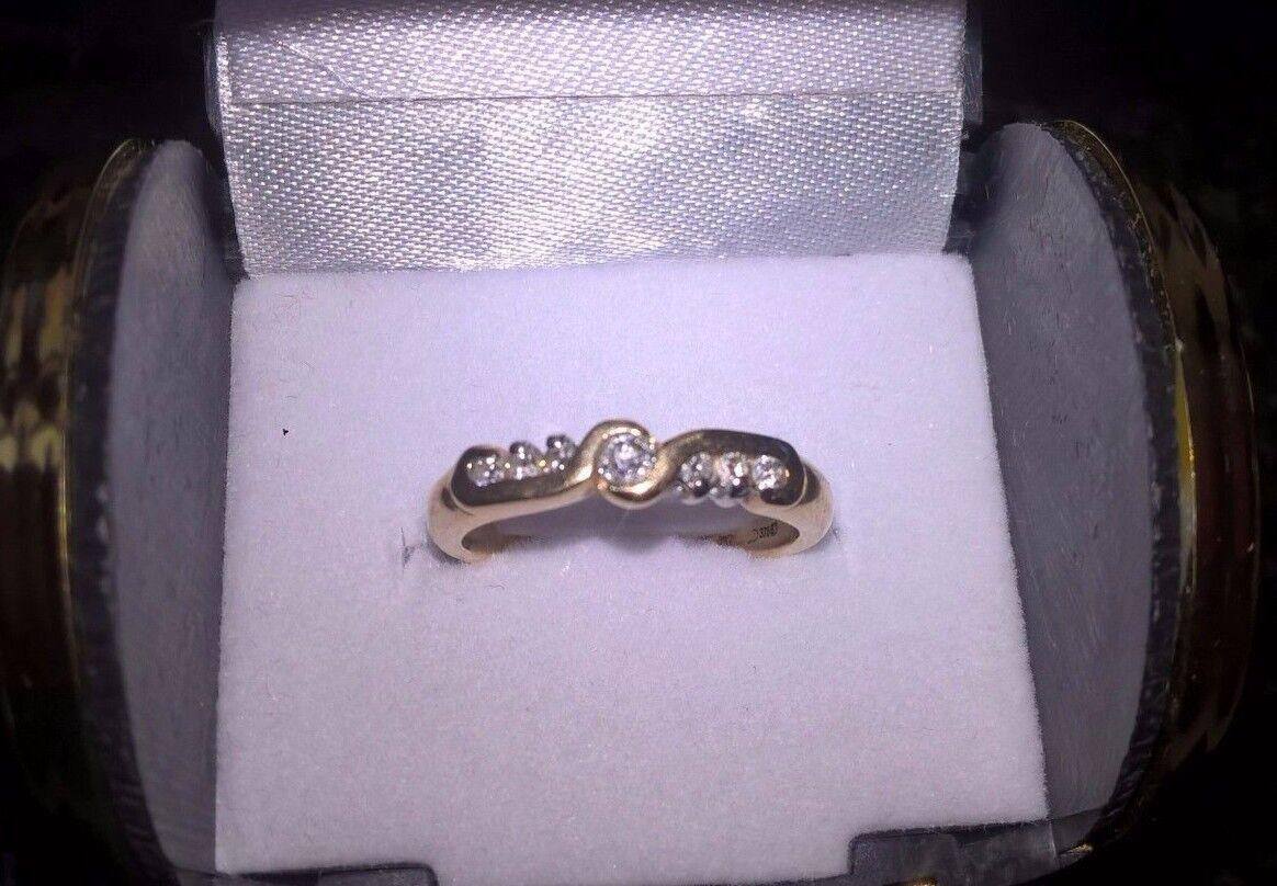 Splendido diamante oro 9 carati donna mezza eternità anello anello anello d04e83