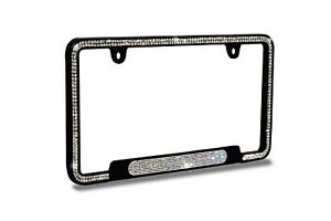 B ***4 ROW White Bling Real Crystal Embedded Black Metal License Plate Frame***