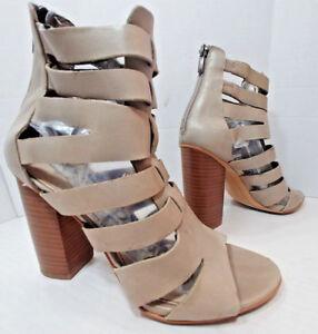 99da8618d Sam Edelman Tan Beige Leather Chunky Heel Sandal Shoes Ankle Booties ...