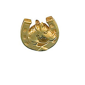 Horse Shoe and Head Tie Pin Solid Yellow Gold Hallmarked Handmade