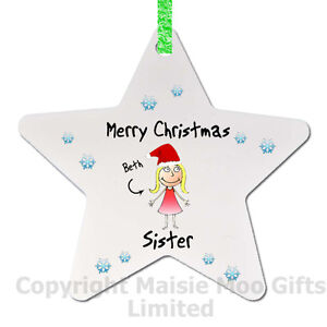 Merry Christmas Sister.Details About Personalised Merry Christmas Sister Santa Tree Decoration Bauble Gift Star