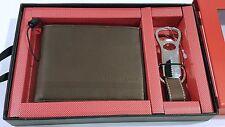 Bifold Slim Wallet Perry Ellis Men's Genuine Brown Leather + Key FOB Set NIB