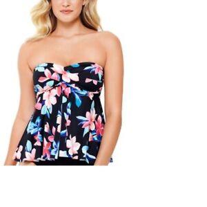 Swim Solutions Women's Lanai Bandeau Flyaway Top Size 10 Multi Color NWT