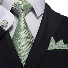 Men's Green Small Grid 100% Silk Neck Tie Set Cufflinks & handkerchief 18A68