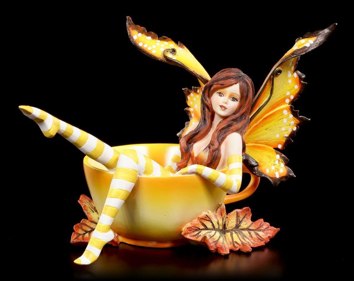 Figura Elfos en - Taza Cup Fairy Autumn By Amy marrón - Hada Fantasía