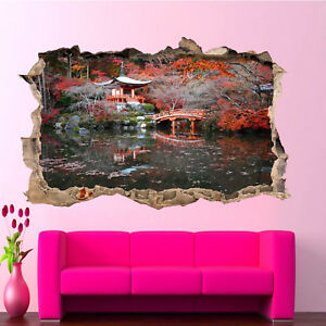 Details About Anese Houses Garden Lake Wall Stickers Art Poster Decal Murals Decor Rf5